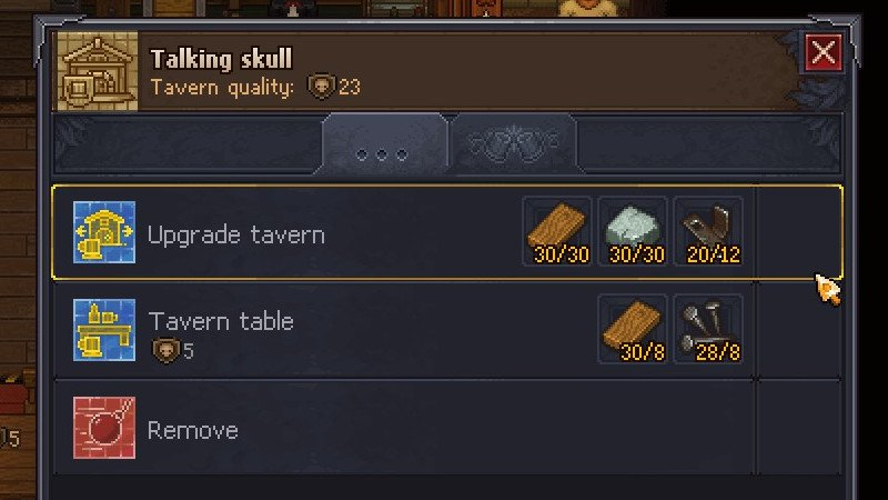 Upgrading the tavern