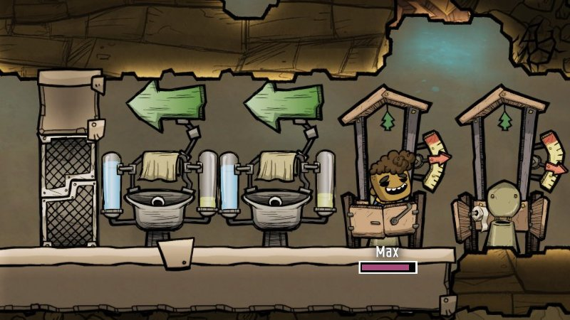 Outhouse and wash basin in Oxygen Not Included